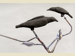 Steel Trees with Clay Birds